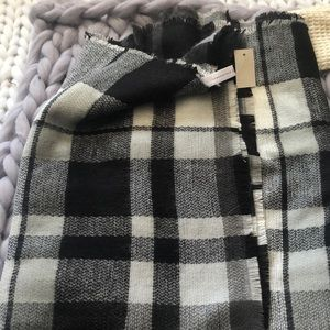 Checkered black cream and grey blanket scarf